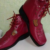Новейшие кожаные ортопедические туфли-босоножки, 22,5 см по стельке! Стелька кожа! Качество!