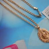 Цепочка с иконкой Божья Матерь медсплав, покрытие золотом 18К/585 пробы плетение Love