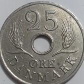 Монета Дании 25 оре 1966 год, правление Фредерик IX!!!