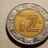 Монета. Мексика. 2 песо 1998 года. Биметалл.