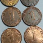 Монета Германии 1 пфениг, 6 шт одним лотом !!!