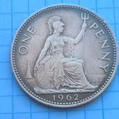 Монета Великобритании 1 пенни 1962