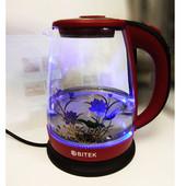 Электрочайник Чайник электрический дисковый стеклянный с подсветкой 1,8 л( цвет случайный)