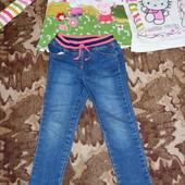 джинсы класные на резинке 4-5 лет