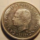 монета. Швеция. 1 крона 2008 года. Карл XVI Густав.
