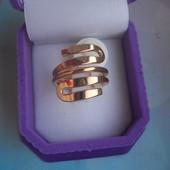 Кольцо медсплав, покрытие золотом 18К/585 пробы (р.18)