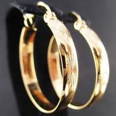 Последние!!!Очаровательные стильные серьги-кольца ø 2,5 см позолота 585 пробы УП-15 грн