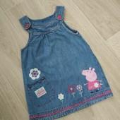 Классный джинсовый сарафан Пеппа, на девочку 3-4 года