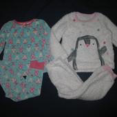 Чудесные пижамки для принцессы(меховушка+хлопок) 3-4 г и р 98-104 см!Лот 2 шт!!
