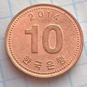 Монета Кореи 10 вон 2014