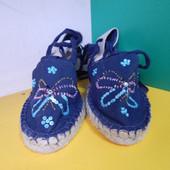 Женские синие босоножки вышитые бисером 39 маломерят