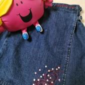 ЛоВиЛоТы! Модная джинсовая юбка на запАх, 8-12 лет