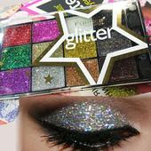 Набор Тени-глиттеры, блестки для век Farres cosmetics , Мерцающие тени-глиттеры 12 оттенка Палитр