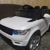 Детский электромобиль M 3402 Land Rover на резиновых eva колёсах, кожа, белый