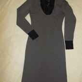 Стильное трикотажное платье с кружевом р.XL/S смотрите замеры и описание!