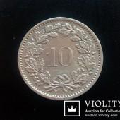 Монета 10 раппен 1973 года, Швейцария.