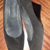 Туфли замш, 26см, широкая ножка.