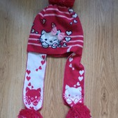 Зимняя шамка Hello kitty перчатки в подарок