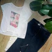 Батальные качественные джинсы как новые и футболка стрейч