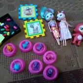 Мега лот для девочки! Коллекция Хечемелс зверят, популярные куколки и пупс, мини мозаика, пятнашки.