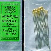 Иглы для бисера Regal № 12 с золотым ушком. Лот 20шт.