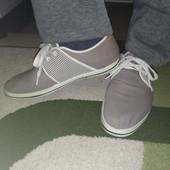 Мужские мокасины на шнурках.Текстиль.