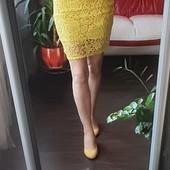 Яркий летний лот! Желтая, легкая юбка р S, М в очень хорош сост Подарок майка, туфли