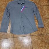 Шикарная серая рябая рубашка Слим р.15,5(46-48-50)