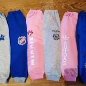 спортивные штаны с небольшим начесом. 80-146, разные