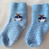 Голубые махровые носки с мишками р. 12