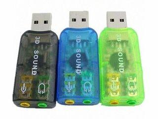 USB звуковая карта virtual 5.1 green в лоте зеленая