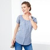 Блуза с коротким рукавом в мелкую клеточку от Tchibo(Германия), размеры наши: 42-44 (36 евро)