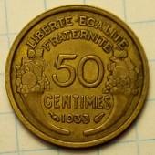 50 сантимов 1933 год Франция