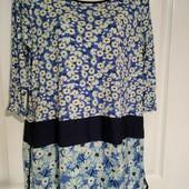 Яркая удлиненная блуза Next, размер 16 в идеале