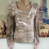 Блуза с жатой ткани с шифоновыми рукавами клёш, Xanaka, размер М.