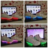 Кожанные кроссовки Skechers с LED подсветкой по стельке 24 см