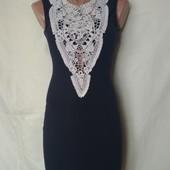 Фирменное платье из тонкого трикотажа с кружевом,95%вискозы,xs/s/m