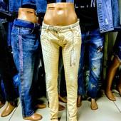 Новые зауженные стрейчевые нарядные джинсы, XS-S, пот 31 см, поб 40 см