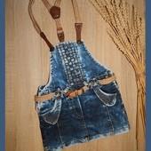Джинсовый стильный сарафан с карманами и поясом