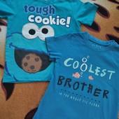 Две фирменные футболки одним лотом, мальчику 2-4 лет, замеры.