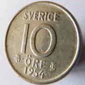 монета Швеция 10 эре, 1954, серебро!