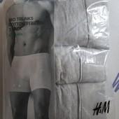 H&m оригинал. Комплект 3 шт, мужские удлиненные трусы боксеры, органик-хлопок. Размер М