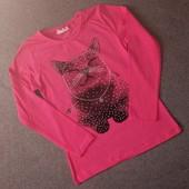 Отличная кофта реглан для девочки котик стразы