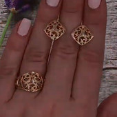 Шикарный набор!!!,,Золотое солнце''Кольцо18 размер,цвет советского золота!Серьги размер 1.7 на 1.7