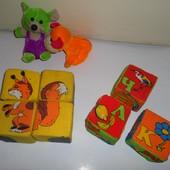 Набор игрушек. Кубики мягкие, мышка, собачка.