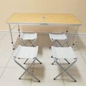 ✅ Стол и 4 стула комплект для кемпинга, туризма, сада, стол туристический стол для пикника