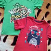 Две фирменные футболки одним лотом, мальчику 7-8 лет, замеры
