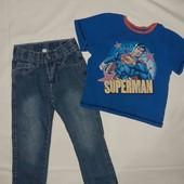 Одним лотом, джинси і футболочка на 3-4роки(98см)