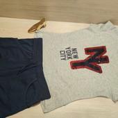 Германия!!! Симпатичный коттоновый набор для девочки: футболка с пайеткам и трикотажными шортами!
