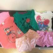 Лот фирменных вещей для лета!!! 4 футболки, 2 шорт и лосины.